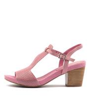 ZARKA Heeled Sandals in Pink Leather