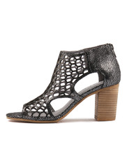 VIABLE Heeled Sandals in Pewter Crackle Leather