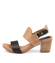 ZEROS Heeled Sandals in Black/ Tan Leather