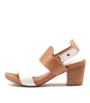 ZEROS Heeled Sandals in White/ Tan Leather