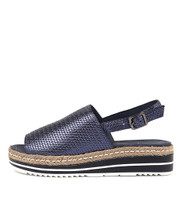 ADIDAH Flatform Sandals in Navy Metallic Leather
