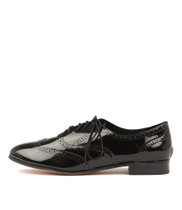JAYSE Lace-up Flats in Black Patent Leather