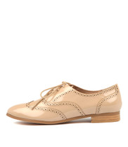 JAYSE Lace-up Flats in Dark Nude Patent Leather