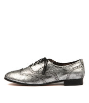 JAYSE Lace-up Flats in Pewter Metal Leather