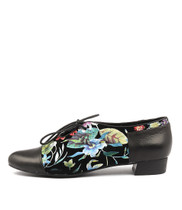 EVAN Lace-up Flats in Black Bright Floral Leather