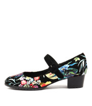 TANDOSI Heeled Shoes in Bright Floral/ Black Leather