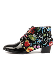 TANKERM Lace-up Boots in Bright Floral/ Black Patent Leather