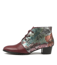 TANKERM Lace-up Boots in Burgundy/ Peacock Print Leather