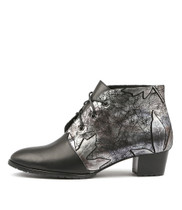 TANKERM Lace-up Boots in Black/ Pewter Print Leather