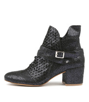 MIVERLYS Heeled Boots in Navy Crackle Leather