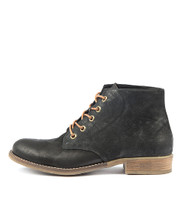 COACHEL Ankle Boots in Black Nubuck Leather