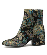 BOSCA Ankle Boots in Black Paisley Leather