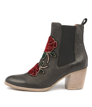 BENDING Ankle Boot in Red Rose/ Black Nubuck Leather