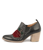 BEIRUT Ankle Boots in Red Rose/ Black Nubuck Leather