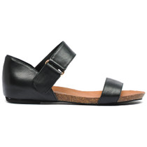 Letina Flat Sandals in Black Leather