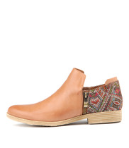 KAVALIER Ankle Boots in Aztec Print/ Tan Leather