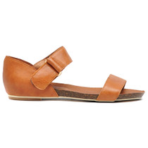 Letina Flat Sandals in Tan Leather