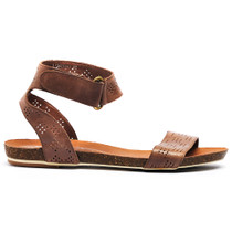 Limited Flat Sandals in Tan Leather