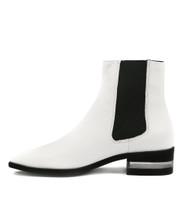 FELICITY Ankle Boots in White Leather