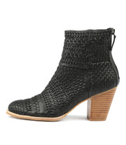 CANISERY Heeled Ankle Boots in Black Leather