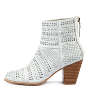 CANISERY Heeled Ankle Boots in White Leather
