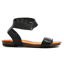 Limited Flat Sandals in Black Leather