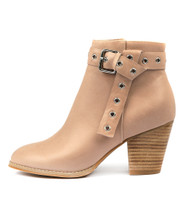 ROZALA Heeled Ankle Boots in Nude Leather