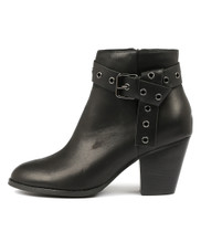 ROZALA Heeled Ankle Boots in Black Leather