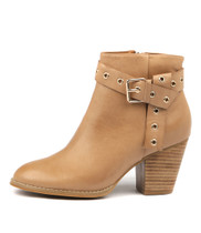 ROZALA Heeled Ankle Boots in Tan Leather