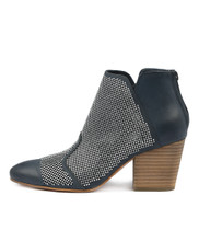 IMPRESS Heeled Ankle Boots in Navy Leather