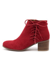 KELTIC Ankle Boots in Red Suede