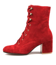 NUTPECK Heeled Boots in Ruby Suede