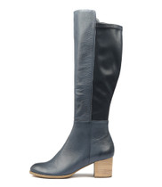 SETLEY Knee High Boots in Navy Leather
