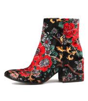 BOSKRAS Ankle Boots in Black/Red Floral Velvet