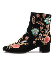 JACKYS Ankle Boots in Black/ Multi Embroidered Suede