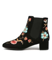 JOSSLER Ankle Boots in Black/ Multi Embroidered Suede
