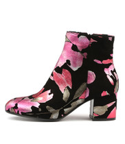 NULULU Ankle Boots in Raspberry Floral Leather