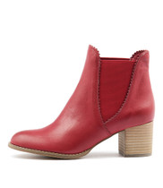 SADORE Ankle Boots in Red Leather