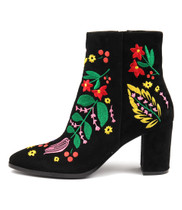 AMATO Ankle Boots in Black/ Bright Embroidered Suede