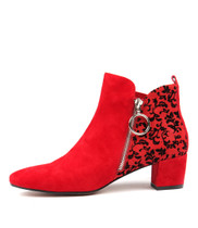 HALOTTE Ankle Boots in Red Suede/ Black Velvet