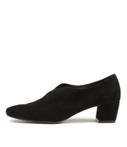 HEASIER Mid Heels in Black Suede