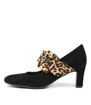 TRACCA Mid Heels in Black Suede/ Ocelot Pony Hair