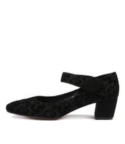 HALLO Mid Heels in Black Suede/ Velvet