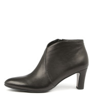 TEMPLESS Heeled Ankle Boots in Black Leather