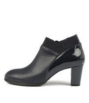 ACER Heeled Ankle Boots in Navy Leather