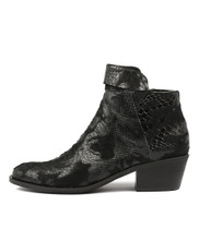 RANDAS Ankle Boots in Black Print Pony Hair/ Leather