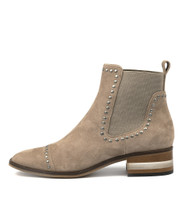 FERRAS Ankle Boots in Taupe Suede