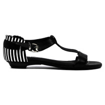 Landing Flat Sandals in Black and White Leather