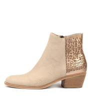 RANDISH Ankle Boots in Nude/ Rose Gold Cut Leather