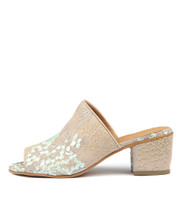 MIRELL Heeled Sandals in Nude Blossom Fabric